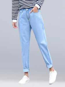 Mom Jeans Harem-Pants Loose Black Blue White Casual Brand Female New Washed