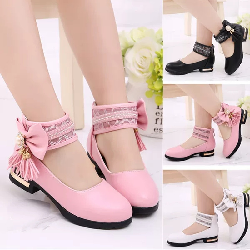Children Leather Shoes Big Girls Shoes Kids Fringed Princess Shoes For Party Wedding Dance Big Girls Dress Shoes Chaussure Fille