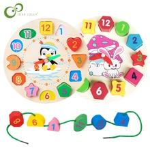 Дошкольное детское Монтессори игрушки раннее образование Обучающие приспособления математические игрушки цифровые часы деревянные игрушки геометрическая форма соответствия GYH