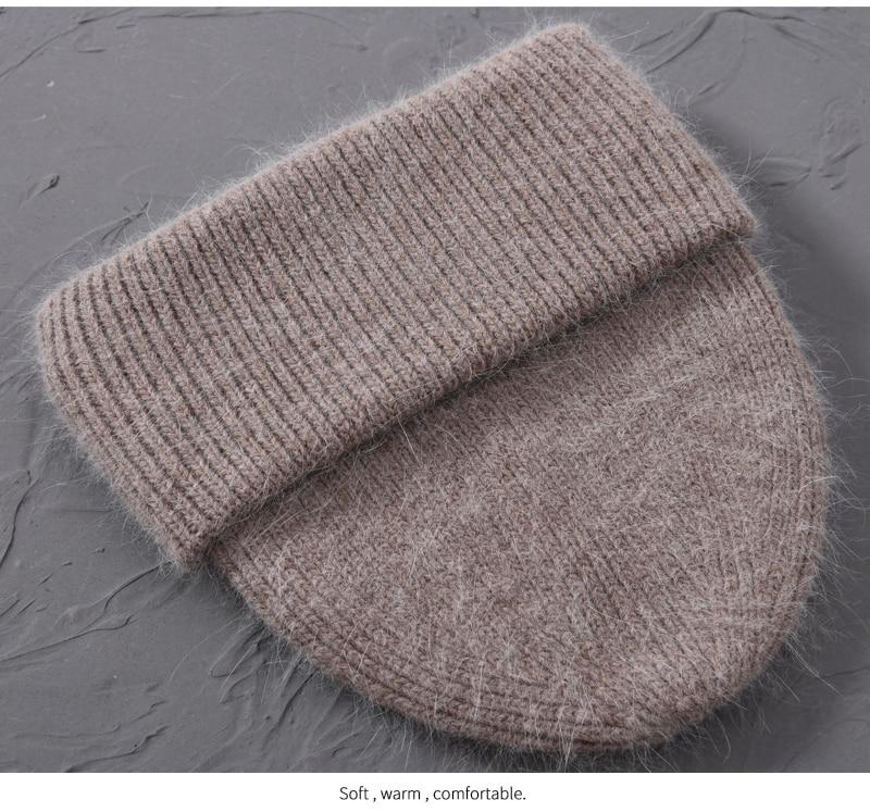 Women Cashmere Wool Knitted Hats  -  1mrk.com