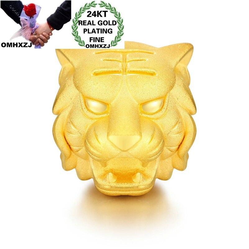 OMHXZJ Wholesale CA357 European Fashion Fine Woman Man Party Birthday Wedding Gift Tiger Head Beads DIY 24KT Gold Pendant Charm