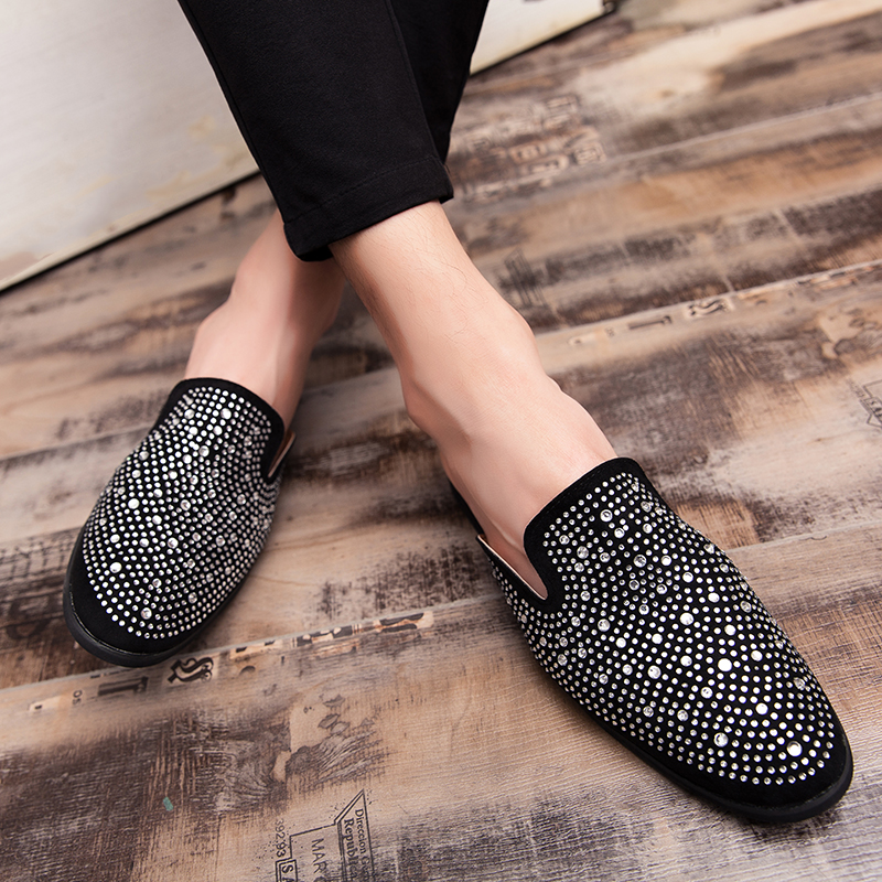 Summer Loafers Half slippers Men Top Quality Lazy Shoes Mens New Trend Half Drag Youth Casual Shoes Flats Sneakers Men in Slippers from Shoes