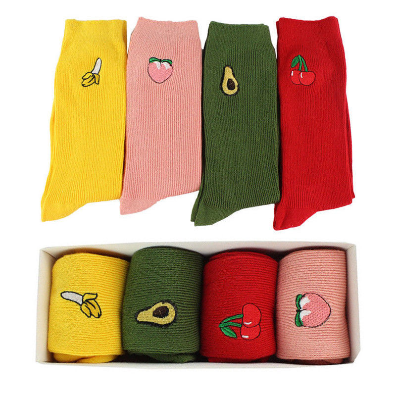 2020 Women's Cotton Socks Cute Fashion Fruit Print Retro Embroidery Cartoon Long High Hosiery Yellow Red Green Socks