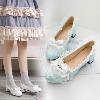 Original loli Lolita Shoes Fairy Ball in Chunky-Heel Bow restonic gong zhu Students L sen xi Shoes Female image