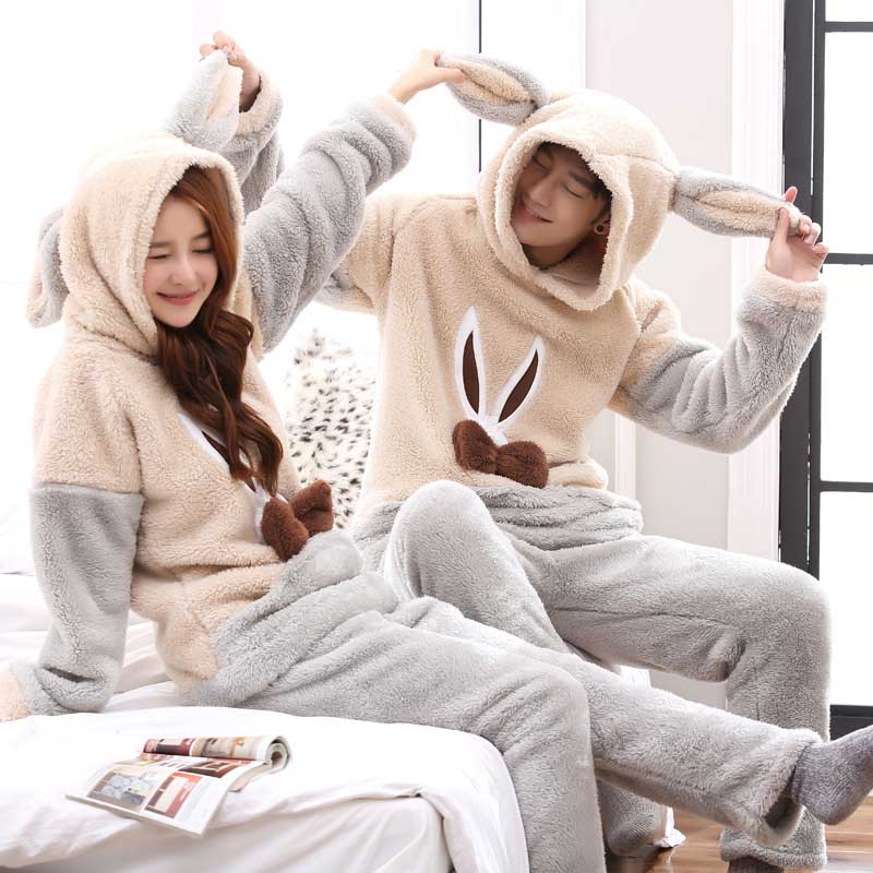 Unisex Adult Couple Pajamas Men Winter Velvet Sleepwear 2 Pieces Warm Flannel Pajamas Set Animal Cartoon Cute Home Clothes