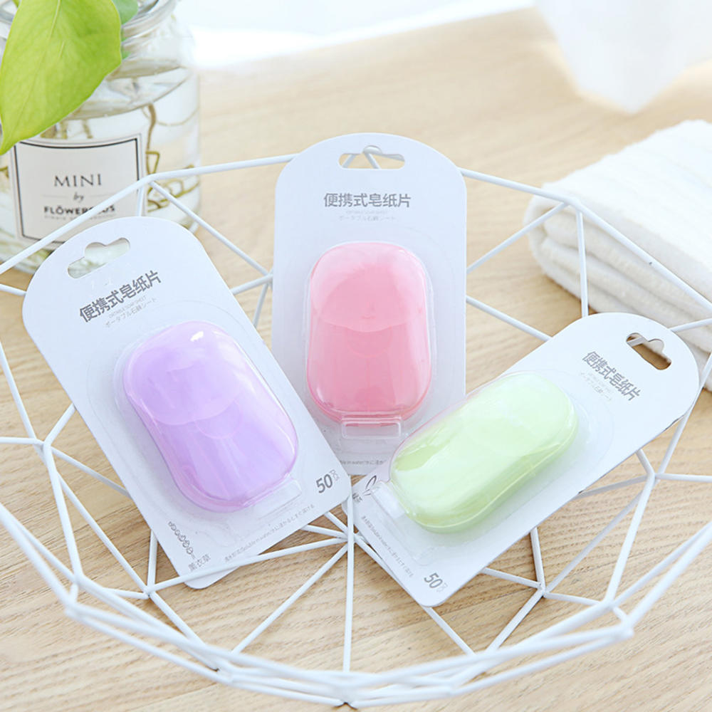 50 Pcs/box Portable Mini Paper Soap Outdoor Travel Soap Paper Washing Hand Bath Clean Scented Slice Soap Sheets