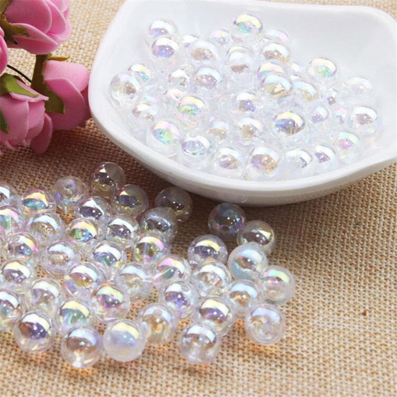 100pcs 10mm AB Transparent White Pink Color Round Acrylic Bead Loose Spacer Beads for Jewelry Making DIY Bracelet(China)