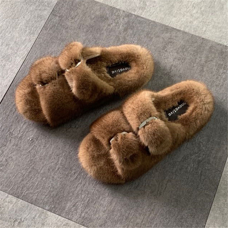 Fashion European Station Lady Slippers 100%  Mink Fur Slippers