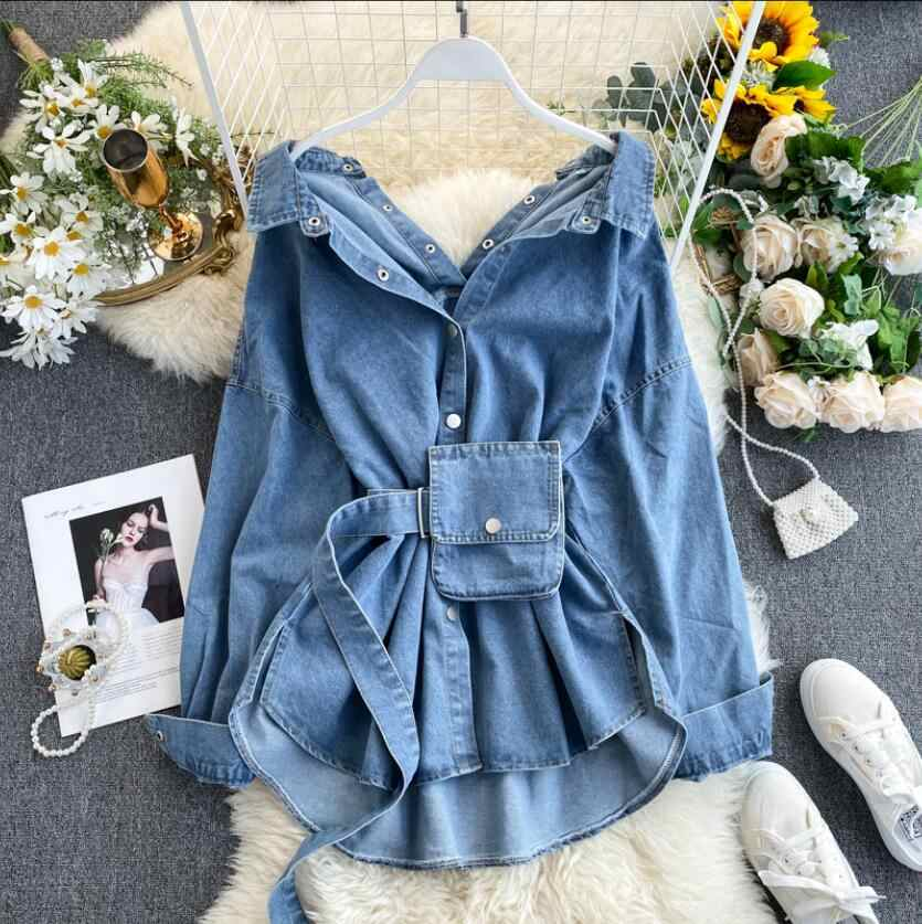 Denim Shirt Vrouwen Backless Lace-Up Taille Tas Mode Jeans Blouse Jas Dames Streetwear Jean Blusa Femme Lente en Herfst