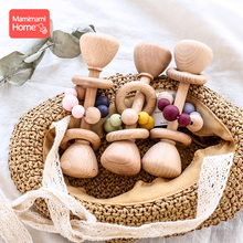 1pc Baby Teether Wooden Music Rattle BPA Free Wooden Gym Ring Rodent Silicone Beads Newborn Educational Montessori Toys For Kids