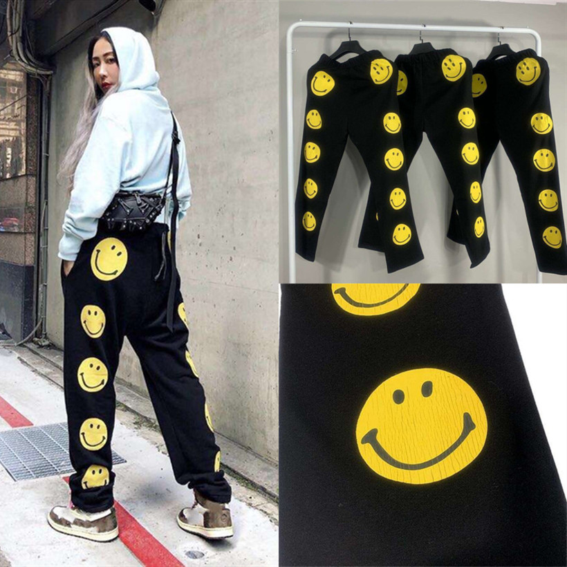 New KAPITAL Sweatpants Women Men 1:1 High Quality Tear Printing Smiley Drawstring Joggers Sweat Pants KAPITAL Trousers