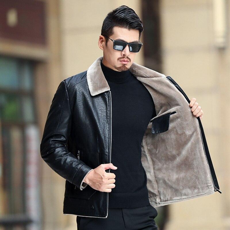 Quality Men Leather Jacket Faux Fur Fleece Lined Motorcycle Bomber Black  Leather Coats Male Outerwear Winter Jacket Keep Warm