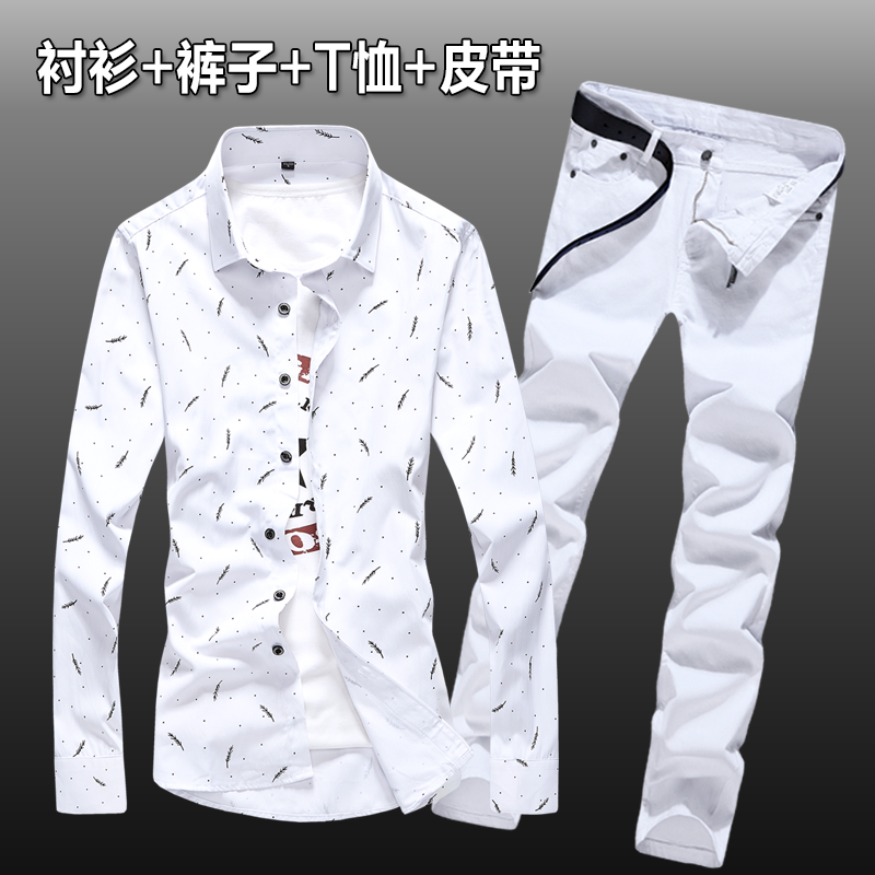 New Autumn Mens Long Sleeve Cotton Shirt Print Long Pencil Pants 2pcs Set Casual Single Breasted Blouse Top Jeans Trousers Z34