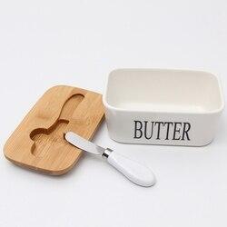Masło zamknięte ceramiczne pudełko z tablicą masła  pokrywa drewniana i nóż  pojemnik na masło serowe