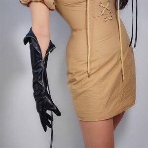 """Image 2 - טק ארוך כפפות פו עור PU 24 """"60 cm שחור ארוך במיוחד כסף רוכסן ציצית נשים של עור כפפות מסך מגע WPU172"""