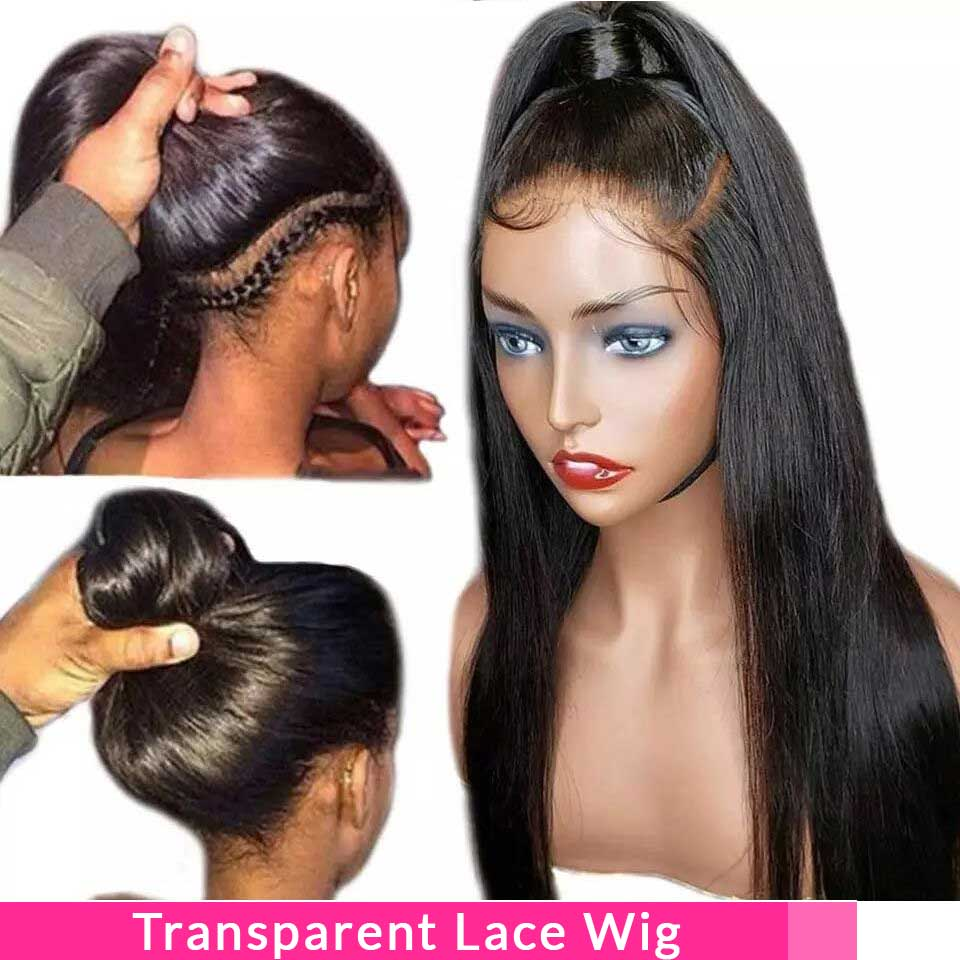 150% Transparent 13*4 Lace Front Human Hair Wigs Pre Plucked Straight Non  Remy Brazilian Lace Front Wigs For Black Women