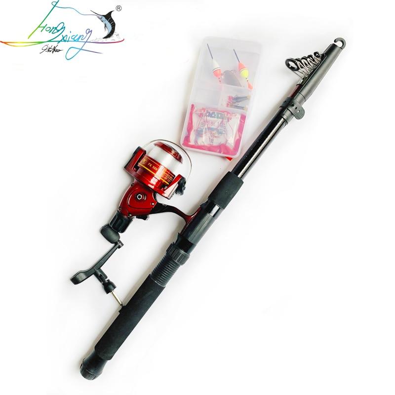 Telescopic Fishing Rod Reel Combo Full Kit Fishing Rod Gear +Spinning Reel+ Line Lures Hooks with Bag for vara de pesca|Rod Combo| |  - title=