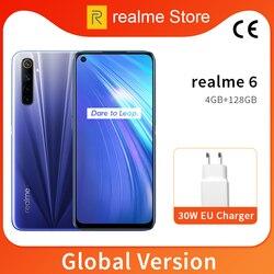 Realme 6 Globale Versione 4GB 64GB 6.5 ''Telefono Del Moblie Helio G90T Octa Core 64MP Quad Fotocamera Del Cellulare 430mAh 30W Caricatore di UE