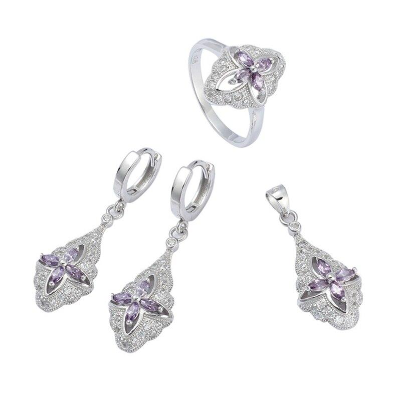 Eulonvan luxe mode mariage bijoux ensembles femmes accessoires 925 en argent sterling livraison directe violet cubique zircone S-3707set
