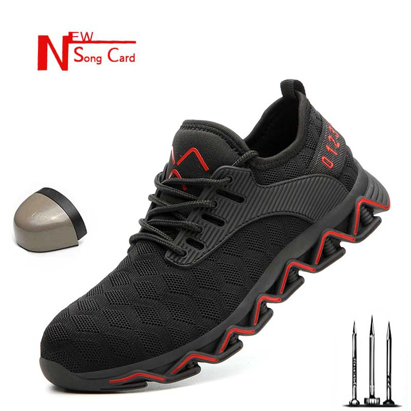 2019 New Men Breathable Wear Steel Toe Cap Work Safety Shoes Outdoor Non-slip Ladle High Quality Construction Work Boots Sneaker