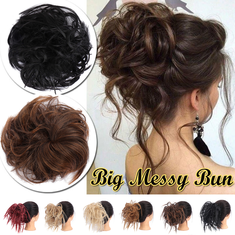 MUMUPI Curly Scrunchie Chignon With Rubber Band Brown Gray Synthetic Hair Ring Wrap On Messy Bun Ponytails