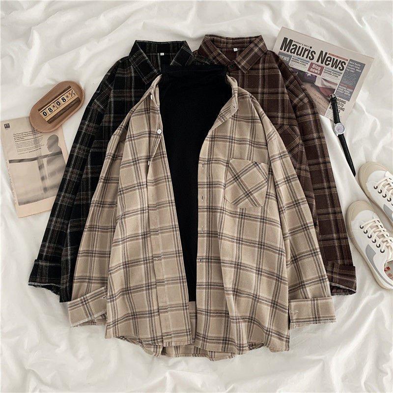 Women Shirt Plaid female Oversize Blouse Korean Style Plus Size Long Sleeves Tops Casual Outwear Femme Blusas