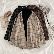 Camisa feminina xadrez feminino blusa de tamanho grande estilo coreano plus size mangas compridas topos casual outwear femme blusas