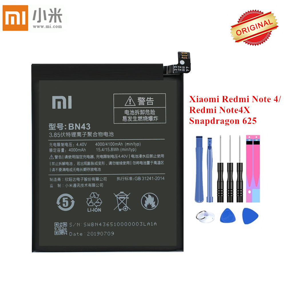 2019 New Original Xiao <font><b>Mi</b></font> <font><b>Battery</b></font> BN43 For <font><b>Xiaomi</b></font> Redmi Note 4X /Note <font><b>4</b></font> Global Snapdragon 625 Akku 4000mAh + Tools image