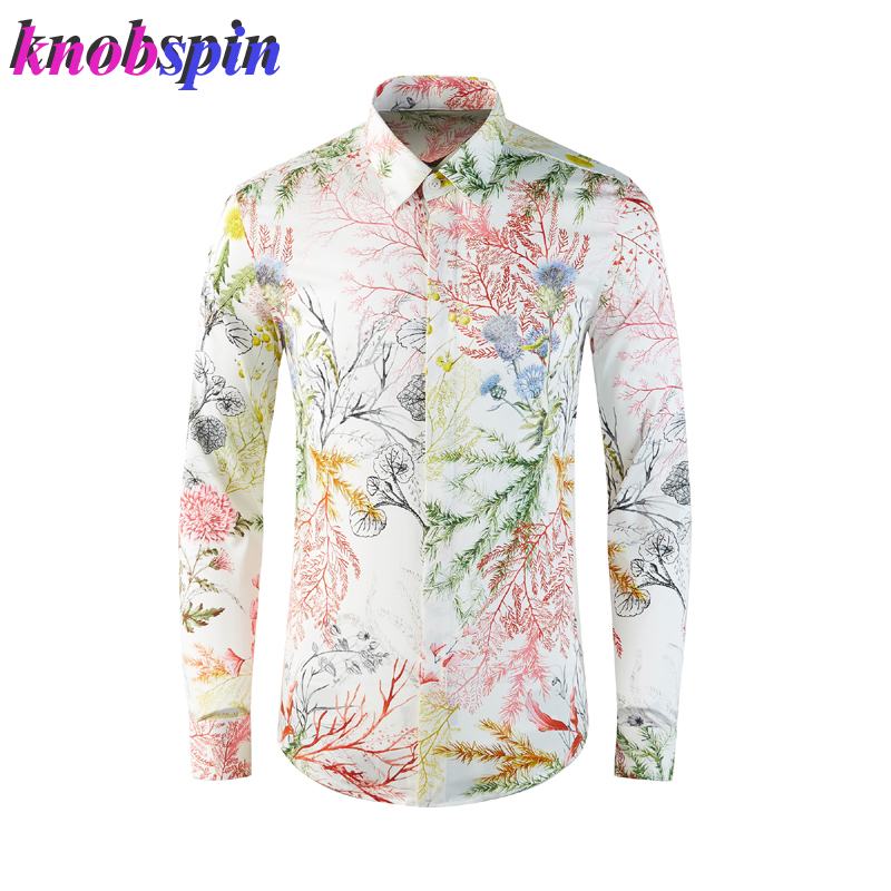 Luxury Seaweed Printed Shirt Men Turn-down collar Long Sleeve Slim Fall Chemise homme 100% Pure Cotton Shirts For Men Plus Size