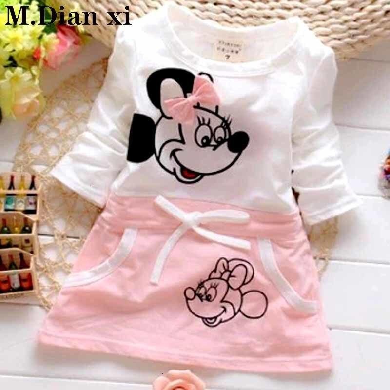 Frühling und Herbst Mädchen Kleidung Kleid Mode Nette Minnie Nähte Kleid Baumwolle Langarm Baby Mädchen Cartoon Print Mini Knie