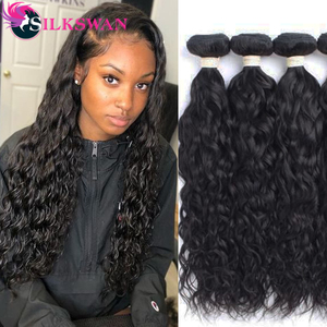Silkswan 26 28 30 32 34 Inch Water Wave Hair Bundles human remy hair weaves 30 Inch Bundles Brazilian hair weft 1/3/4pcs Bundles(China)