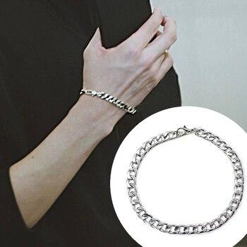 NEW Men's hip-hop stainless steel punk rock bracelet Cuban brake chain men's bracelet women's jewelry Simple Style hand chain 6