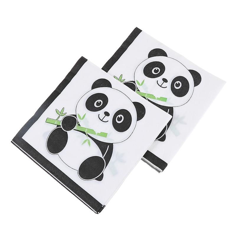 20pcs Panda Theme Paper Napkins For Kids Birthday Party Tissue Napkin Kleenex