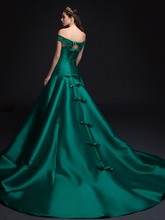robe de soriee Vintage Off the Shoulder Pearls Lace Bowknot Formal Evening Dresses 2019 Green Prom Party Gowns Vestidos