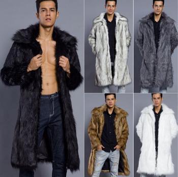 Long fur leather coat men faux mink leather jacket mens winter thicken warm slim jackets jaqueta de couro fashioro fashion