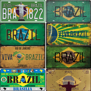 Vintage Brazil Car Number Poster License Plate Popular City Brazil National Flag Retro Tin Signs Home Decor Stickers 15x30cm(China)