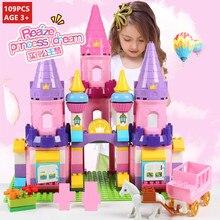 109Pcs Girl Princess Castle Building Blocks LegoINGLs Duplo Town Horse Friends Figures Creator Bricks Toys Girls Christmas Gifts