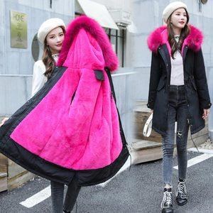 Image 4 - Veste dhiver longue à capuche pour femme, vêtement dhiver épais, doublure en fourrure, peut être 30 degrés