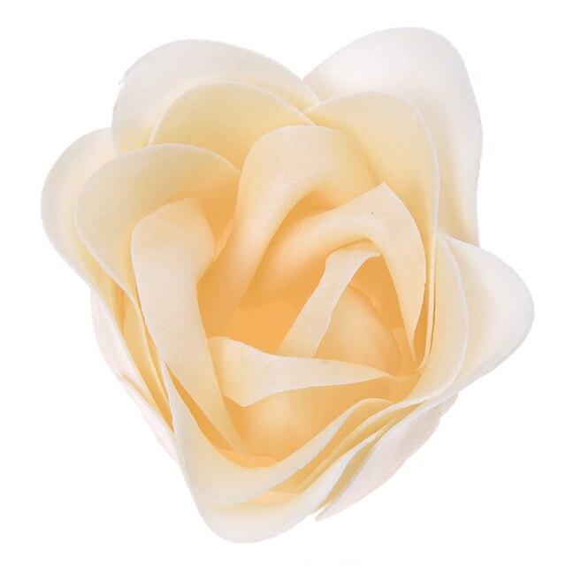 6 Pcs Bathing Shower Off White Rose Flower Bath Soap Petals w Heart Shaped Box 2
