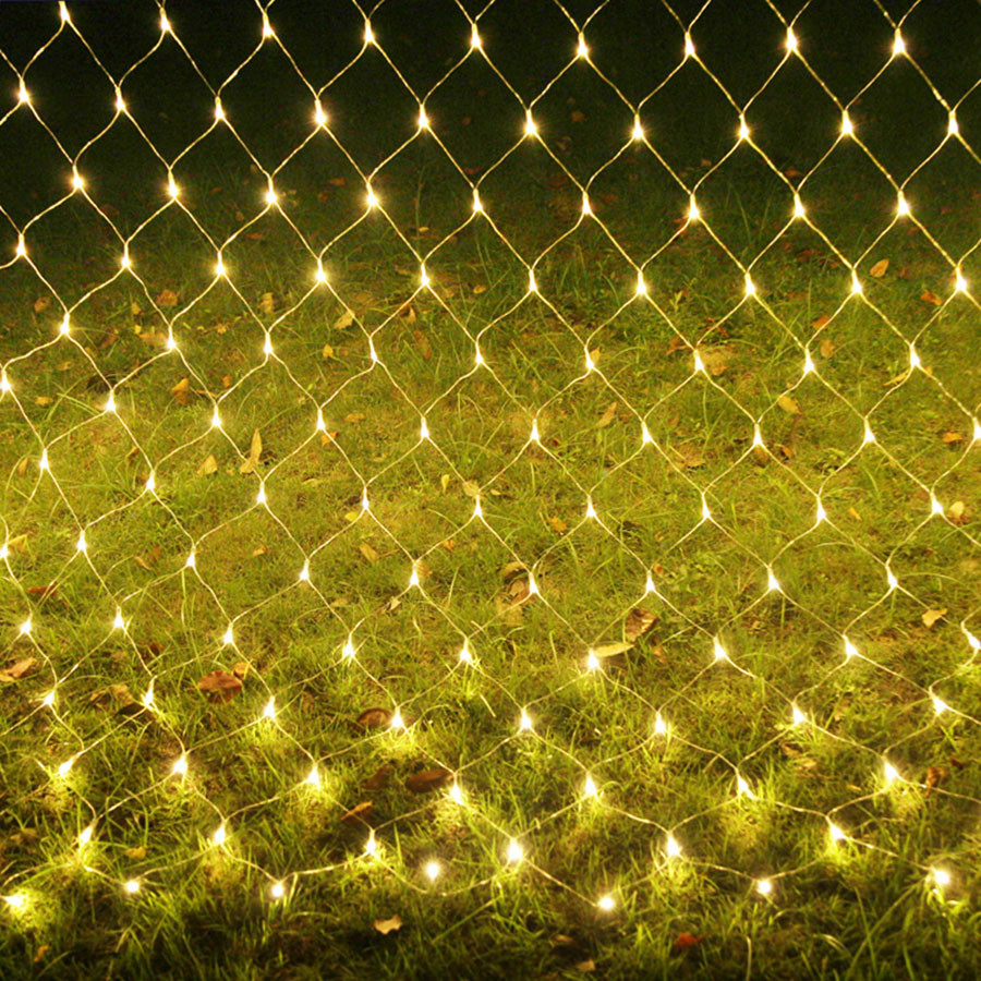 Thrisdar 2x2M 3x2M 6x4M Christmas LED Net Mesh Fairy String Light 8 Function Outdoor Party Wedding Holiday Background Garland(China)