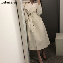 Colorfaith New 2019 Autumn Winter Women Trench Sashes Single Breasted Office Lad