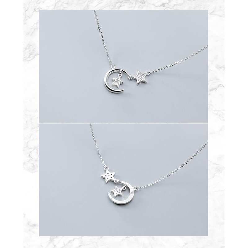 ANENJERY Simple Silver Color Micro Cubic Ziron Star Moon Necklaces For Women choker collares Wedding Jewelry S-N535