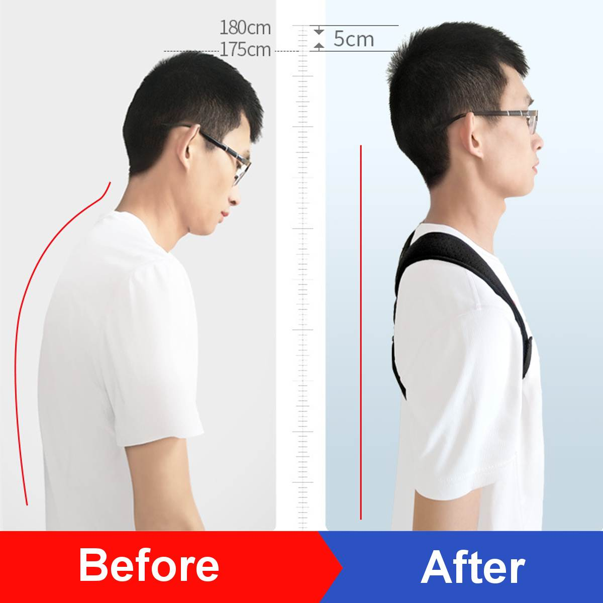 Men And Women Posture Correction with Back Posture Correction Belt Suspender Strap Strengthen Brace Support Fixing Band Kyphoton