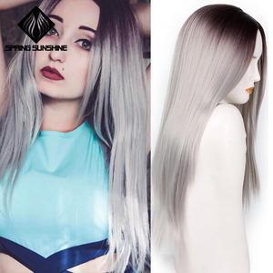 Image 4 - Длинные Синтетические парики Spring sunshine, термостойкие, шелковистые, прямые, 22 дюйма, бордовые, черные, серые, розовые, коричневые