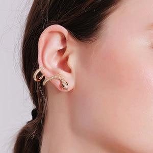 Image 2 - Viennois Cuff Stud Snake Earrings Top Zircon Rhinestone Vintage Earrings