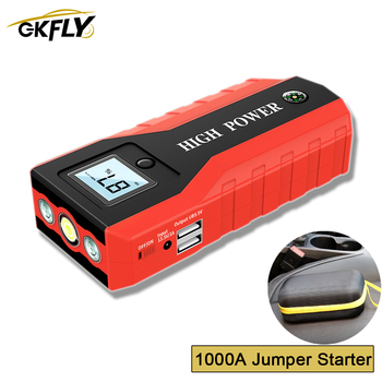 GKFLY Portable 1000A Car Jump Starter 12V Multifunction Starting Device Car Charger For Car Battery Jumper Cables Booster Starte image