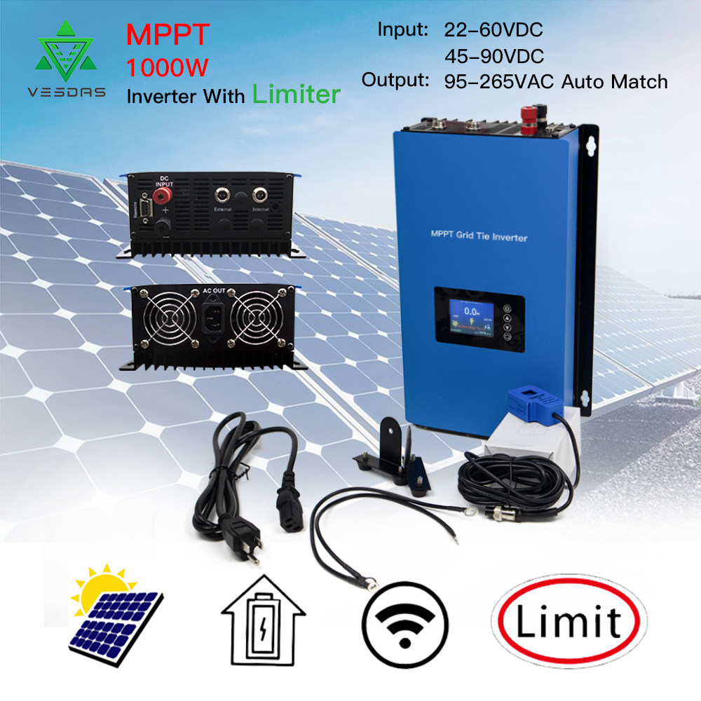 <font><b>1000W</b></font> MPPT Solar Grid Tie <font><b>Inverter</b></font> with Limiter Sensor Micro Inversor Pure Sine Wave Battery Discharge <font><b>Power</b></font> DC 24V 48V 110/220V image