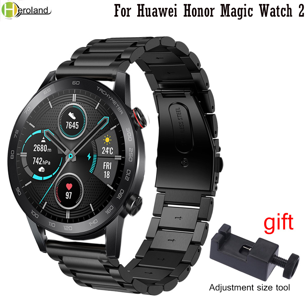 22mm Watch Strap Stainless Steel For Huawei Honor Magic Watch 2 46mm Quick Release Watchband For Samsung Gear S3 Wristband +Tool
