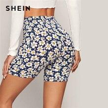 SHEIN Multicolor Allover Daisy Print Legging Shorts Women 2020 Summer Beach Vacation Casual Elastic Waist Stretchy Biker Shorts