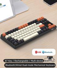Üst baskılı RK987 PBT çift modlu Bluetooth kablosuz/kablolu ergonomik arkadan aydınlatmalı mekanik klavye RK, kiraz MX anahtarı